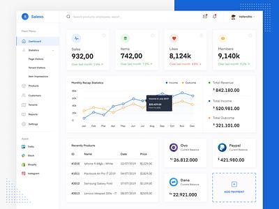 Sales Dashboard App uiuxdesign figma statistics chart webapp website wallet branding dana paypal ovo sales designer dashboard webdesign clean ux ui design app