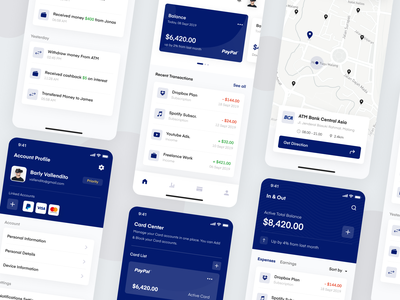 Duito Finance App wallet visa uikit uidesign ux ui atm simple profile paypal money mobile mastercard map finance design clean card blue app