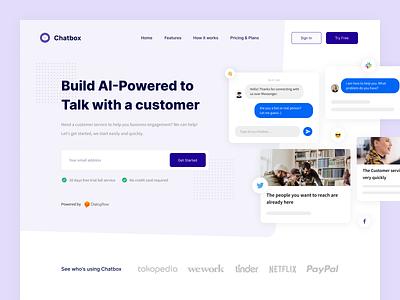 Chatbox - Landing Page messenger chat platform web interface web design branding clean uxdesign uidesign ux ui design app uiux purple website landing page ai chatbot