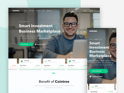 Cointree - Landing Page trending green business marketplace products chart statistics investor crypto landing page investment branding designer webdesign design web uxdesign uidesign ux ui