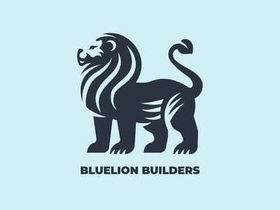 BLUELION BUILDERS minimalism inspiration silhouette branding logo lion