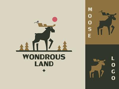 Moose logo minimalism silhouette design branding inspiration vector logo sun forest north horns elk