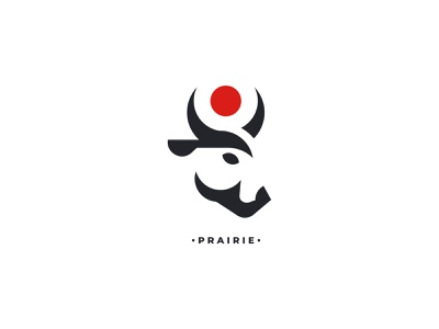 Prairie vectorart silhouette design negativespace minimalism branding inspiration vector logo bird head bull