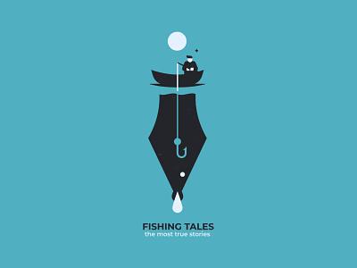 Fishing tales fisherman boat feather negativespace illustration design branding inspiration vector postcard poster