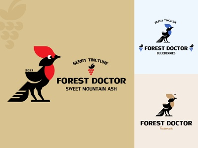 FOREST DOCTOR illustration silhouette vector design branding inspiration minimalism label logo berries tuft