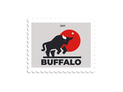 BUFFALO minimalism design silhouette branding vector inspiration logo bull buffalo