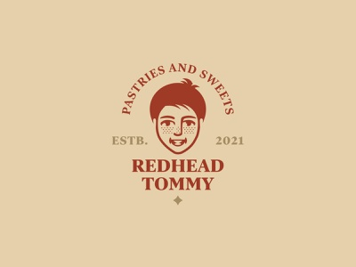 REDHEAD TOMMY face design branding vector inspiration logo baking red