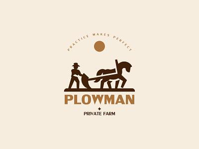 PLOWMAN inspiration negativespace minimalism silhouette design branding vector logo farmer plow