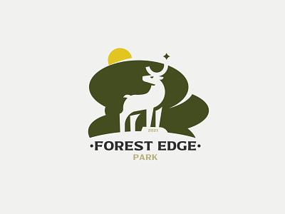 FOREST EDGE logotype logodesign vectorart negative space vector inspiration negativespace minimalism silhouette design branding logo forest deer