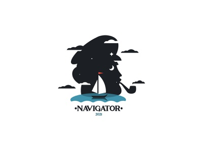 NAVIGATOR inspiration minimalism negativespace silhouette design branding vector illustration navigator