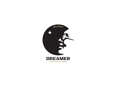 Dreamer inspiration face illustration minimalism negativespace exlibris design branding vector logo dream