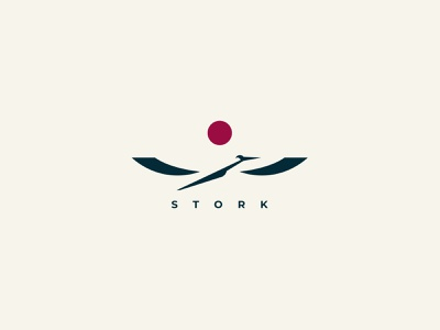 Stork sign inspiration negativespace minimalism silhouette design branding vector logo bird stock