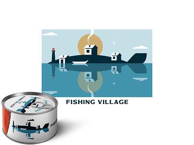 FISHING VILLAGE village fish negativespace minimalism vector logo design branding inspiration illustration