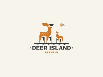 DEER ISLAND minimalism illustration deer vector inspiration silhouette design branding logo