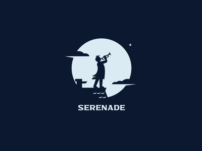 SERENADE night negativespace minimalism silhouette design branding inspiration logo illustration