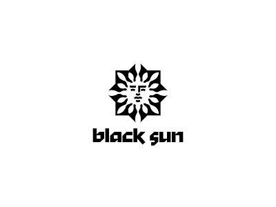 black sun silhouette negative space face inspiration minimalism design branding vector logo