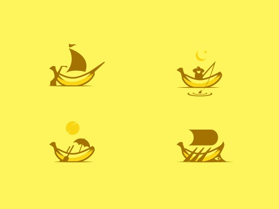 Banana boats icon vector silhouette inspiration boats banana