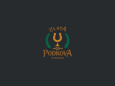 Zlatá podkova golden horseshoe inspiration design branding vector logo