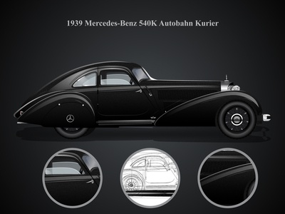 Autobahn Kurier design retro character mercedes car illustration inspiration vector