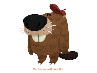 Mr. Beaver With Red Hat characterdesign character beaver digital digitalpainting design style vizdev