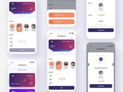Send Money - Online Mobile Banking App transaction history transaction transfers transfer transfer money money bag money app send money ui design money transfer money money send send money flow send money card mobile app ui app design fintech finance app banking app bank app