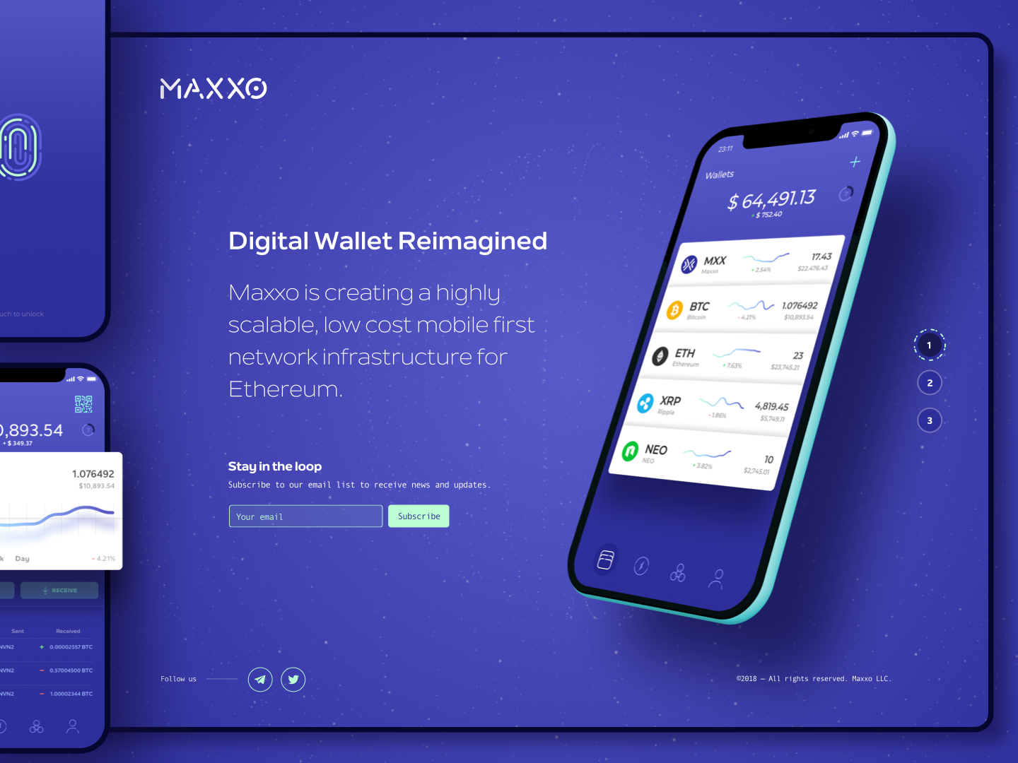 Maxxo Landing Page and Mobile Application UX and Design crypto dashboard crypto wallet cryptocurrency landing page mobile app design graphic minimal clean modern purple design
