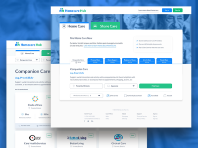 Homecare Hub Search Experience healthcare healthtech finding search results home page landing page uxui search experience search