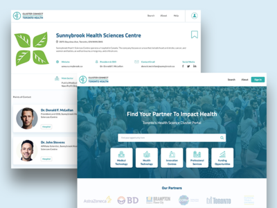 Cluster Connect portal screens web app user profile search product design ui ux healthcare healthtech landing page web dashboard