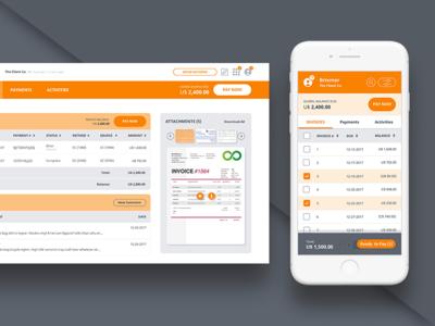 FinTech App - Versapay receipt pay account organize card design invoice dashboard fintech