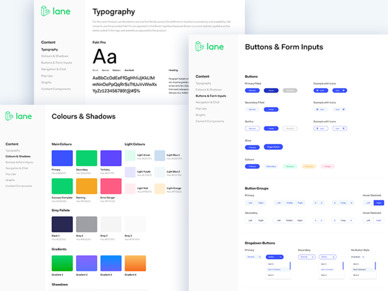 Lane Style Guide ui ux product design guide colors fonts buttons styling style frames style guide