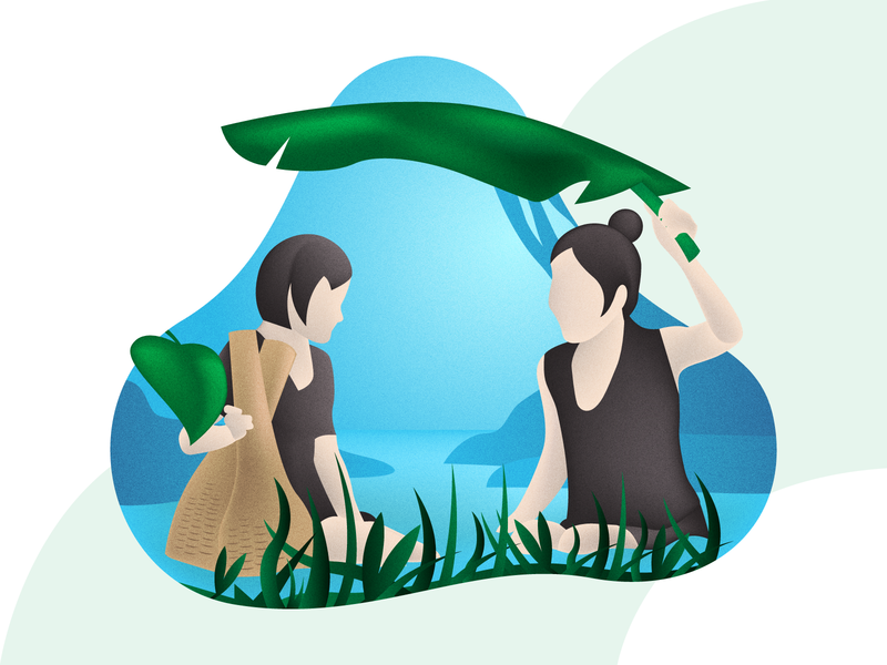 Village People Illustration activity river vector modern illustration design flat woman people village
