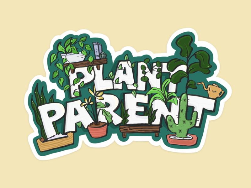 Plant Parent flat plant illustration sketch doodle comic fig tree cactus plants procreate typography design illustration plant