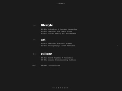 Elsewhere — Table of Contents