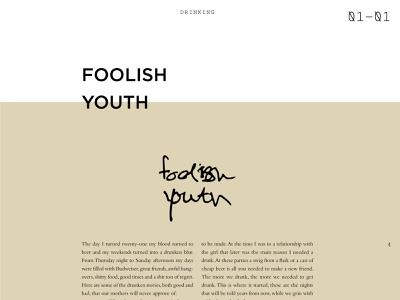 Foolish Youth print design print publication design publication editorial design editorial