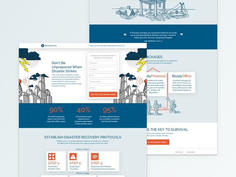 Disaster Recovery Landing Page web design web ux design ui  ux layout landing page design whitepaper cro conversion design branding
