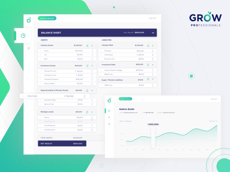 GROW Professionals Client's Profile visual design finacial adviser finance adviser dashboard fin-tech uiux ux design ui