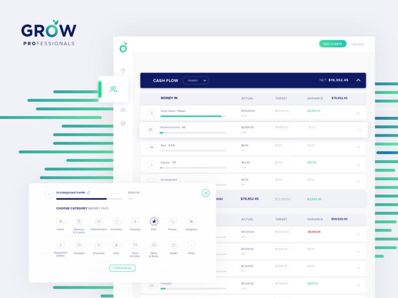 GROW Professionals Cash flow financial adviser visual design uiux design cash flow fin tech fin-tech grow super design ux ui
