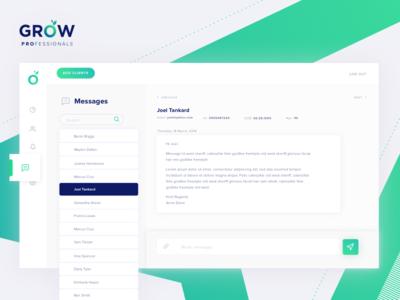 GROW Professionals Real Time Messaging grow professionals grow visual design uiux design adviser fin-tech grow super design ux ui