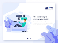 GROW Illustrated On-Boarding Screens