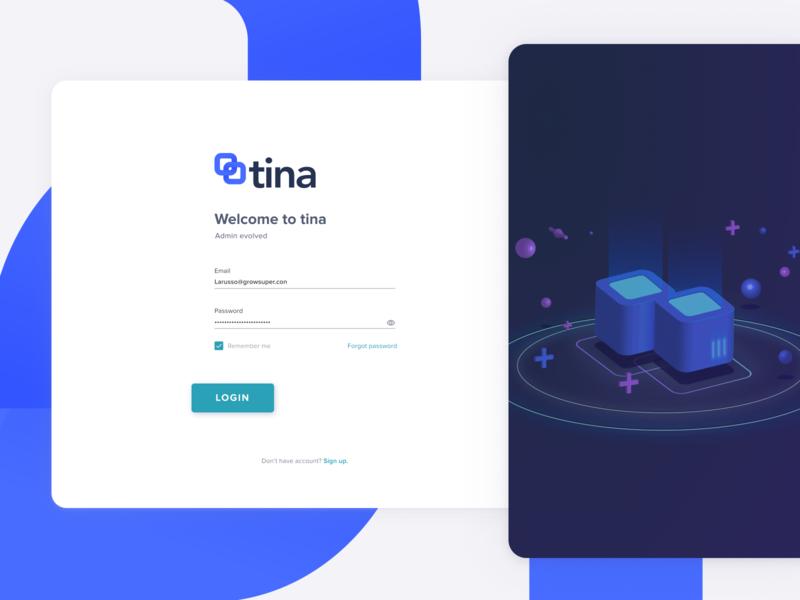 Login page for TINA web design login page login branding superannuation fintech finance grow fin-tech design ux ui