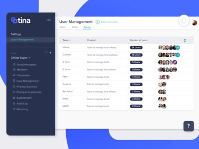 Team Management screen