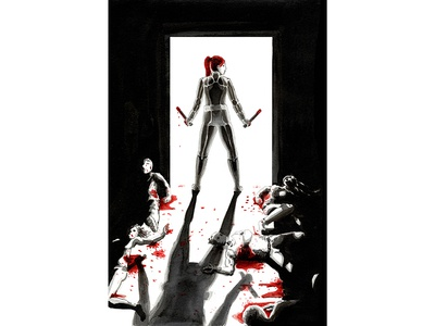 Black Widow Fan Cover noir watercolor ink ink wash violence blood black widow comic book cover cover comic book illustration