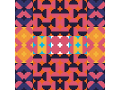 Geometric Poster Series 4, Poster 5 square orange blue pink modern playful colorful geometry print design poster illustration graphic design
