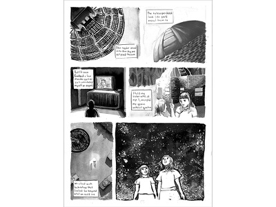 Beyond, Page 4 universe stars ink wash comic book cover space design graphic design black and white ink paint illustration comics