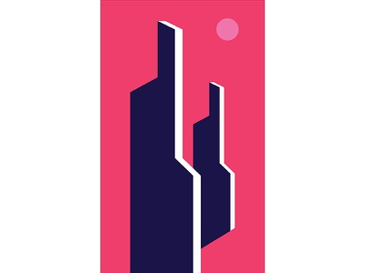 Graphic Architecture Poster #2 structure architecture blue pink modern playful colorful geometry print design poster illustration graphic design