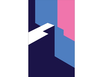 Graphic Architecture Poster #1 structure architecture blue pink modern playful colorful geometry print design poster illustration graphic design