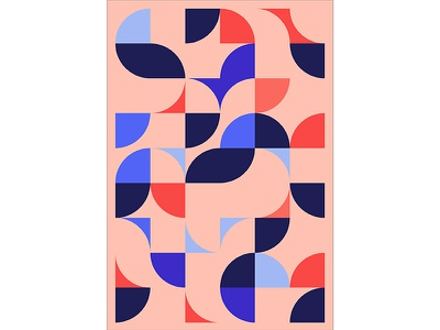 Geometric Poster Series 5, Poster 5 abstract circle red blue modern playful colorful geometry print design poster illustration graphic design
