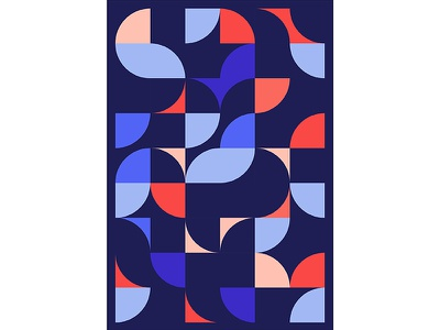 Geometric Poster Series 5, Poster 4 abstract circle red blue modern playful colorful geometry print design poster illustration graphic design