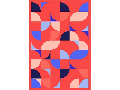 Geometric Poster Series 5, Poster 3 abstract circle red blue modern playful colorful geometry print design poster illustration graphic design