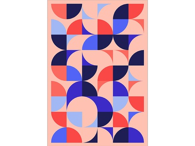 Geometric Poster Series 5, Poster 2 abstract circle red blue modern playful colorful geometry print design poster illustration graphic design
